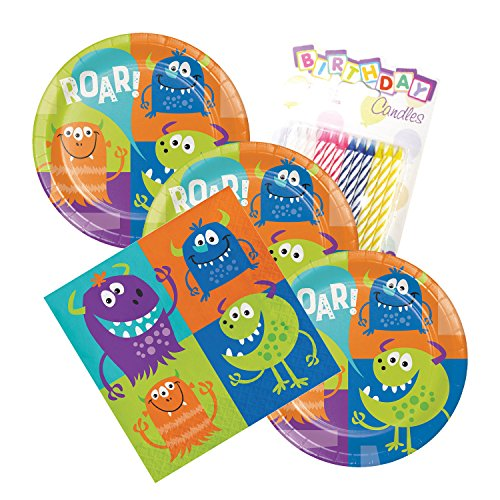 Fun Monsters Party Theme Plates and Napkins Serves 16 With Birthday Candles