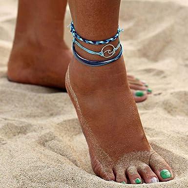 Bohond Boho playa Tobilleras Oro C/áscara Pulsera de tobillo Multicapa Calcet/ín Ajustable Cadena de pie Joyas para mujeres y ni/ñas