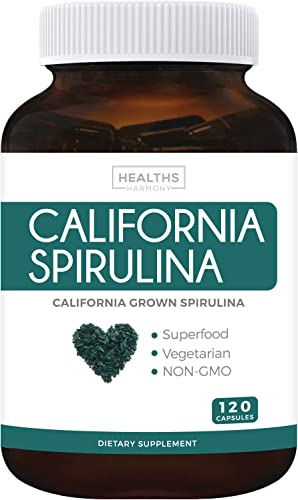 California Spirulina Capsules Non-GMO 120 Vegetarian Capsules 500mg – Blue Green Algae Superfood from Spirulina Powder – Grown in California – Gluten Free Non-irradiated – No Tablets