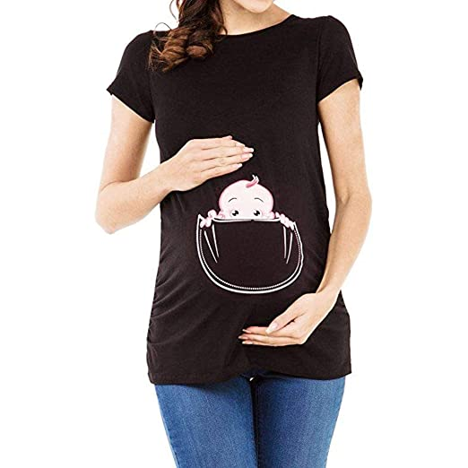 655a96a5 Amazon.com: Plain Maternity T Shirts, Women Maternity T Shirt Funny Graphic  Tee Cute Tops for Pregnancy Women Plus Size: Clothing