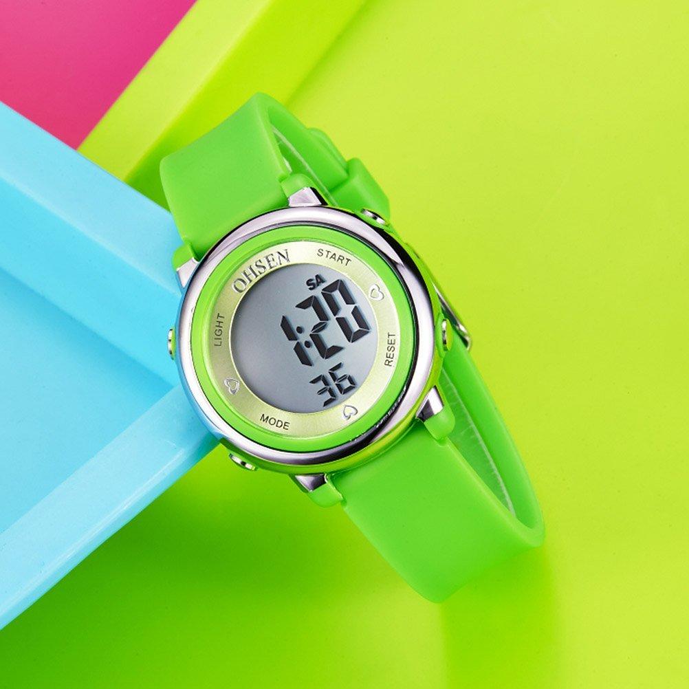 e83d150cf262 PIXNOR Chicas de múltiples funciones resistente al agua luz de fondo  pantalla cuarzo reloj de los deportes OHSEN niños mujeres (verde)   Amazon.es  Deportes ...