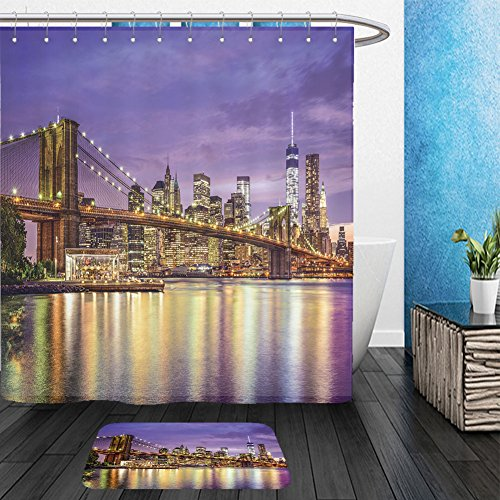 Vanfan Bathroom 2Suits 1 Shower Curtains & 1 Floor Mats new york new york usa city skyline with the brooklyn bridge and manhattan financial district over 225581044 From Bath (District 9 Costume Design)