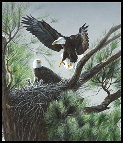 Eagle's Nest Panel - One of a Kind Digital Print - 36'' x 44'' - 100% Cotton Quilt Fabric by Homespun Hearth