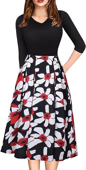 Vintage Sleeve Print Skirt Womens 50s Floral Cocktail Vintage Retro Dresses Elegant Midi Evening Dress 3//4 Sleeves