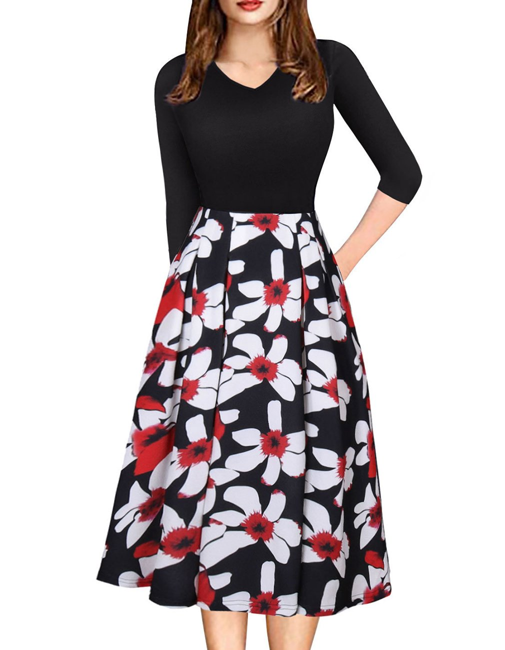 Womens Vintage 3/4 Sleeve Bohemia Floral Midi Patchwork Dress Puffy Swing Casual Party Evening Dress with Pocket (Black,M)