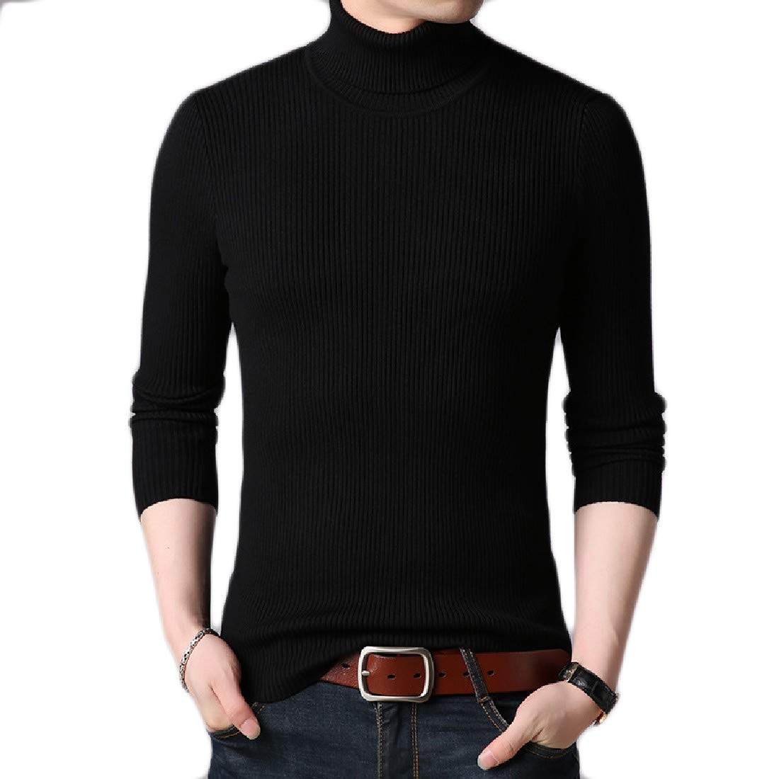 AngelSpace Mens Turtleneck Skinny Knitwear Warm Thick Pullover Sweater