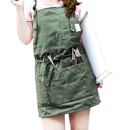 Bivan Canvas Artist Apron With Pockets For Women Men, Gardening Apron  Slight Waterproof Painting Apron
