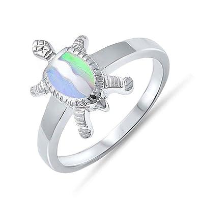 Amazon Com 925 Sterling Silver Sea Turtle Wedding Ring Womens Lab