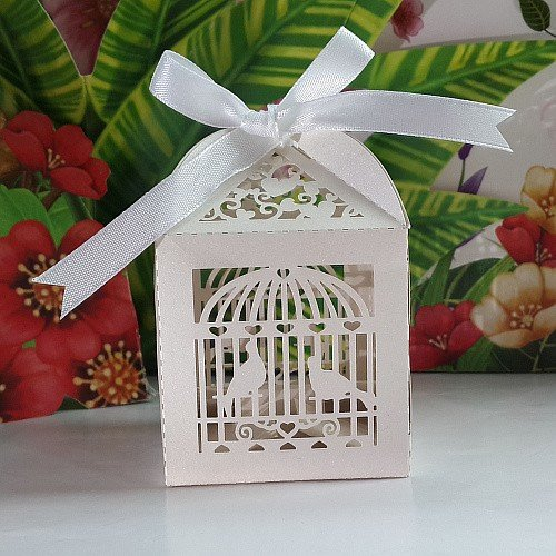 Joinwin® New 50PCS/lots Laser Cut Birdcage Wedding Favor Box in Pearlescent Paper white with white Ribbon,party show favor box (Love Birds Paper Ribbon)