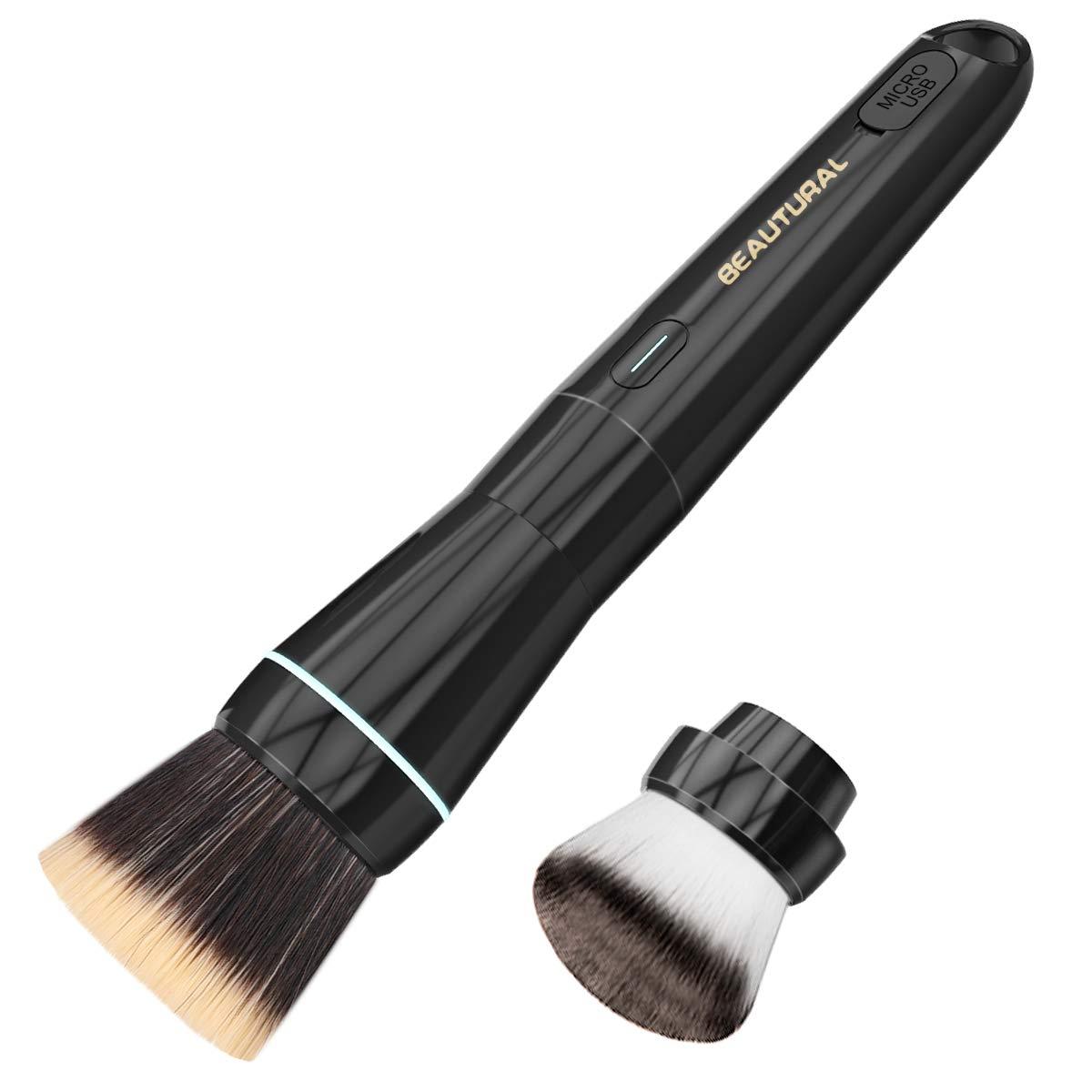 Beautural Electric Makeup Brush Set, Rechargeable Rotation Automatic Blending Cosmetics Blushes Kit for Liquid Foundation Face Powder Contour Bronzer Concealer BB Cream, Black 6-10200001
