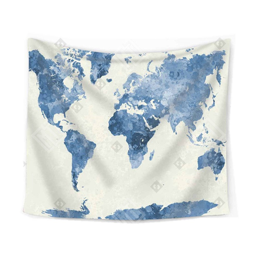 Einfachheit Map Tapestry Retro Watercolor World Map Wall Hanging Home Decoration