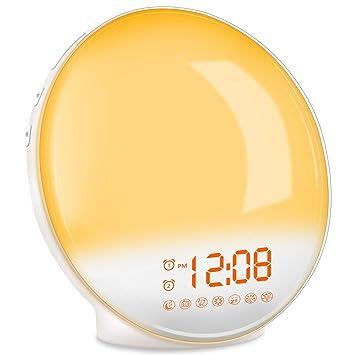 TITIROBA Wake-Up Light, Sunrise Simulation Alarm Clock, Sleep Aid Colored Bedside Light with FM Radio Dual Alarm Adjustable Lightness for Kids and ...