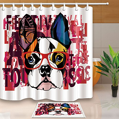 NYMB Portrait of French Bulldog Wearing Sunglasses Decor, 69X70in Mildew Resistant Polyester Fabric Shower Curtain Suit With 15.7x23.6in Flannel Non-Slip Floor Doormat Bath - Bulldog Sunglasses French