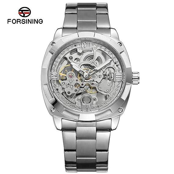 MOZISEN Hermoso y Elegante Reloj FORSINING / 207-1 Reloj mecánico Reloj de Acero Inoxidable