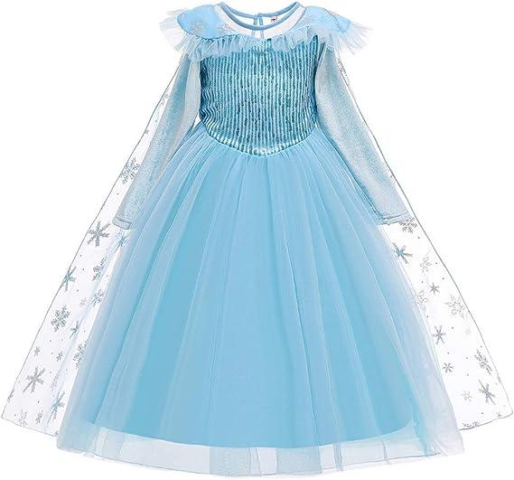 OBEEII Niñas Elsa&Anna Princesa Disfraz Snow Queen Azul Cosplay ...