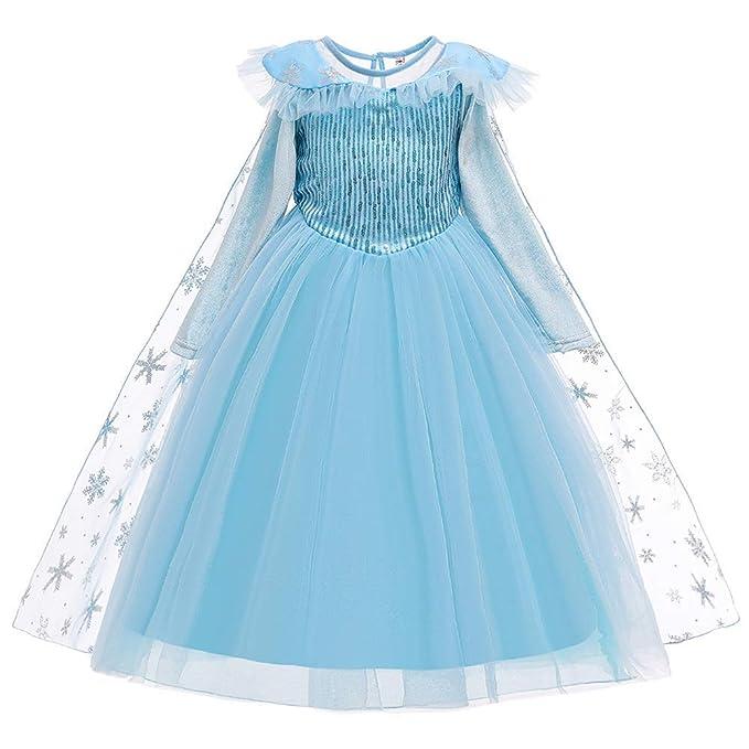 OBEEII Elsa Disfraz Princesa Anna Niñas Snow Queen Azul Maxi ...