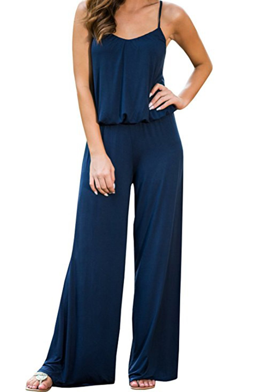 Womens Jumpsuits Wide Leg Cotton Loose Sleeveless Strap Elastic Waistband Jumpsuit Rompers