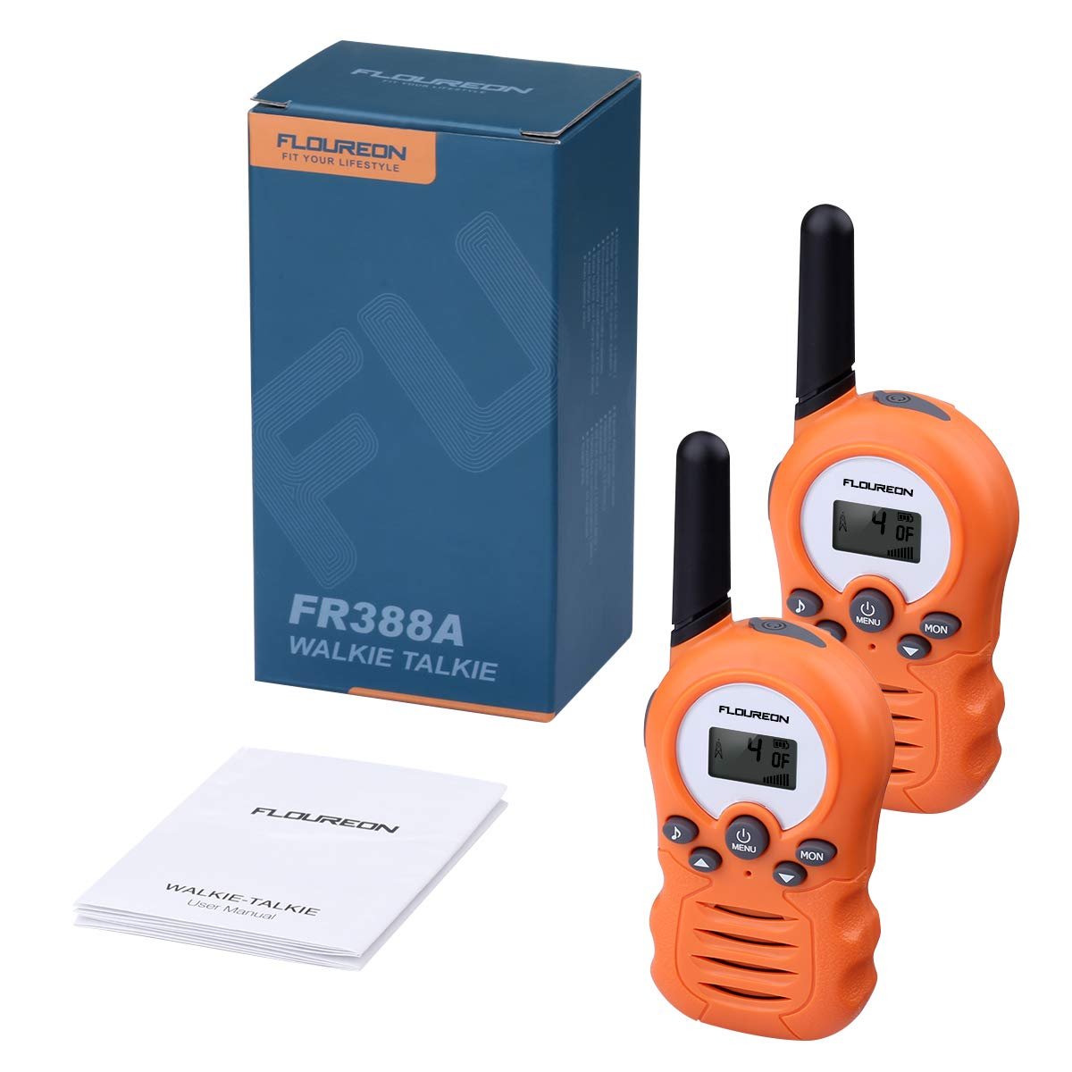 FLOUREON Twins Walkie Talkies 8 Channel PMR446MHZ Two Way Radio for Kids Up to 3300Meters/3Miles Range Handheld Interphone License-Free Orange