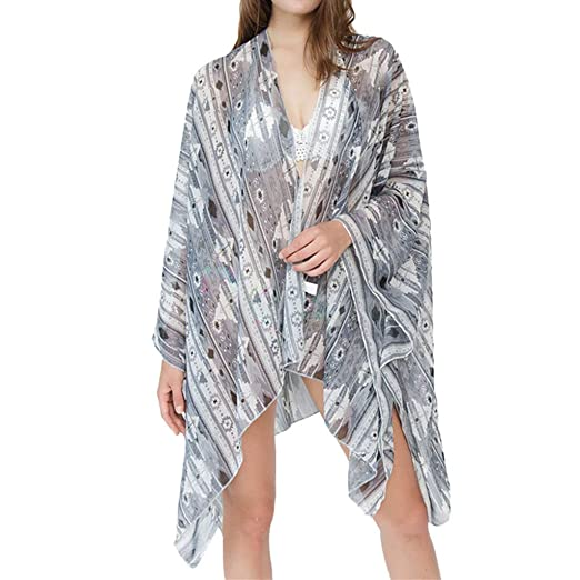 c3e3ab6c3d Fashion Floral Cover ups, G-Real 2019 New Summer Women Chiffon Cardigan  Sheer Loose Kimono Bohemian Beach Dress Gray at Amazon Women's Clothing  store: