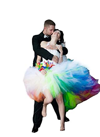 FWVR Women\'s 2017 Halter Rainbow colorful Tulle Wedding Dresses High ...