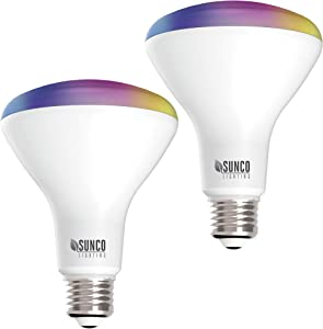 Sunco Lighting 2 Pack WiFi LED Smart Bulb, BR30, 8W, Color Changing (RGB & CCT), Dimmable, 650 LM, Compatible with Amazon Alexa & Google Assistant - No Hub Required
