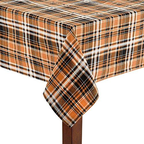 Halloween Tablecloth Orange, Black, White Plaid with Top-Stitching (60 x 84 (Table Halloween Ideas)