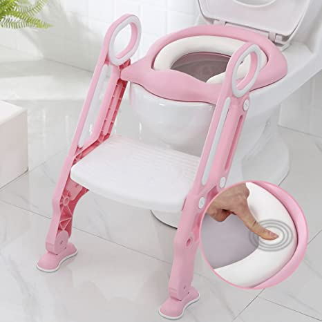 KIDS BABY TODDLER POTTY TRAINING TOILET SEAT WITH LADDER STEP STOOL FOLDING PINK
