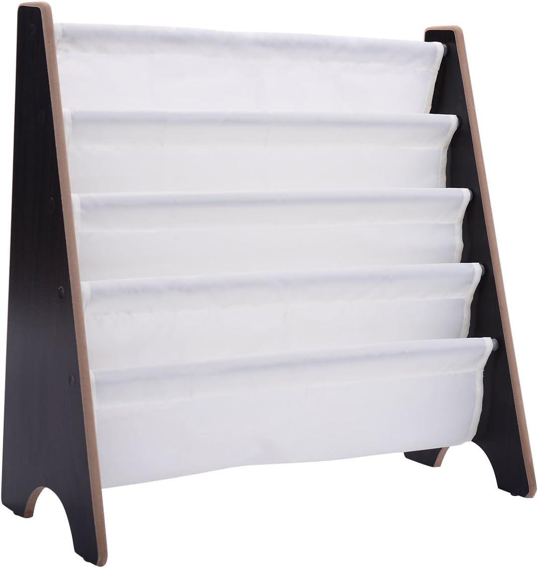 Costzon Kids Sling Bookshelf Book Magazine Storage Rack Children Bookcase Display Holder Coffee