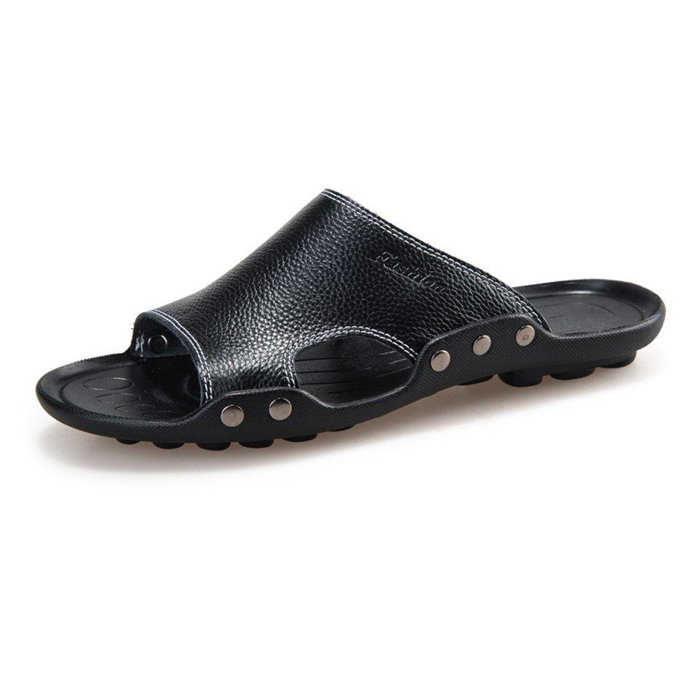 Sunny&Baby Zapatillas de Playa de Cuero Genuino de Piel de Vaca de los Hombres Sandalias Antideslizantes de Trabajo Manual a Mano Resistente a la Abrasión 38 EU|Negro