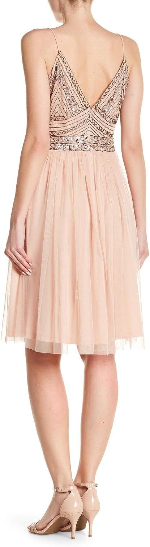 Marina Womens Beaded Mesh Gown
