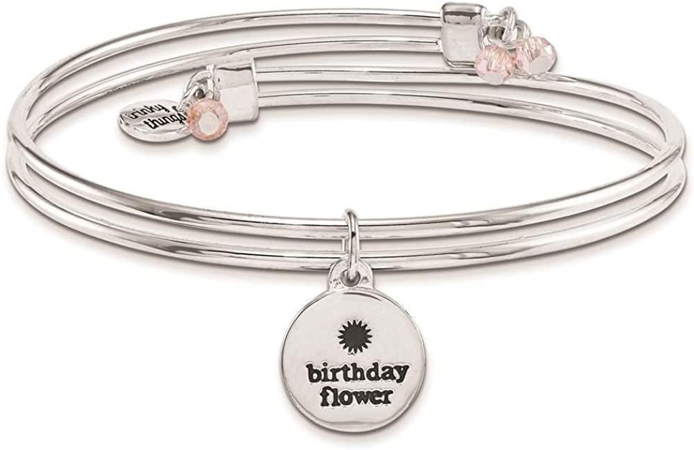 Silver-tone Birthday Flowers Enameled Adjustable Bangle Bracelet with Card by Trinky Things
