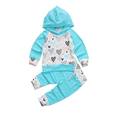 2Pcs Newborn Baby Boy Girl Hoodie Outfit Set Long Sleeve T-Shirt Top + Pants Fall Winter Clothing