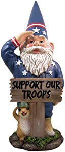 All American Support Our Troops Military Garden Gnome Figurine, 17 1/2 Inch