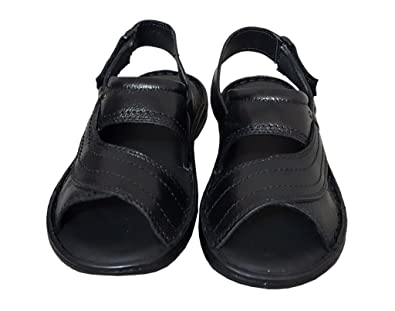 e36b6b33283b Zoom Mens Sandal Online Genuine leather sandals for men D-021-Black Sandals   Buy Online at Low Prices in India - Amazon.in