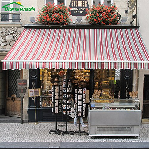 Diensweek 12'x8′ Patio Awning Retractable Manual Commercial Grade,Quality 100% Acryl ...