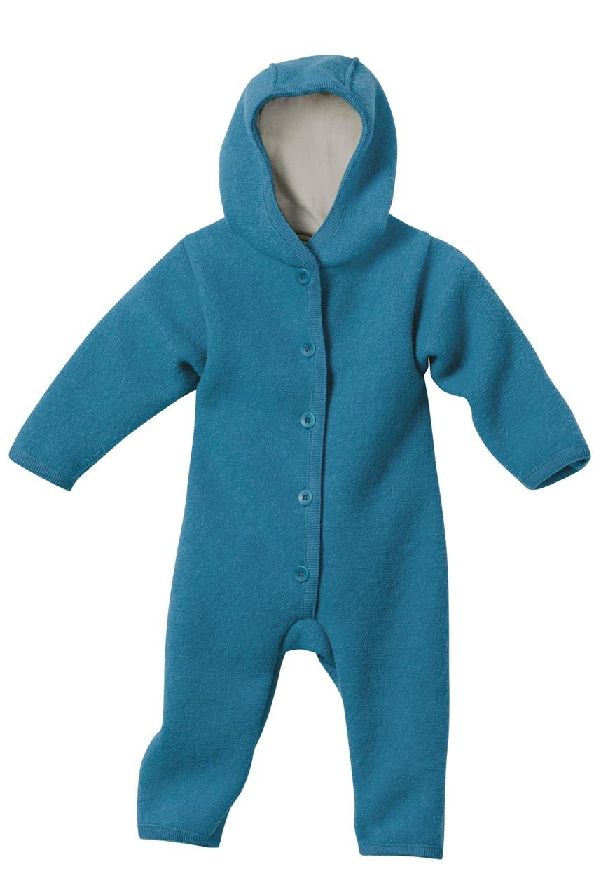 DISANA 100% ORGANIC BOILED WOOL OVERALL ROMPER HOODED NEWBORN/BABY MADE IN GERMANY (0-3 months, Blue) 361-02