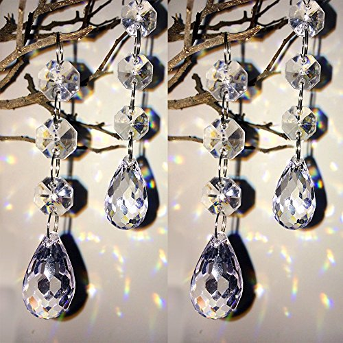 HOHIYA Christmas Artificial Tree Ball Drops Ornaments Home Party Wedding Centerpiece Hanging Decorations(Clear,pack of 30) (Decorative Christmas Indoor Garland)