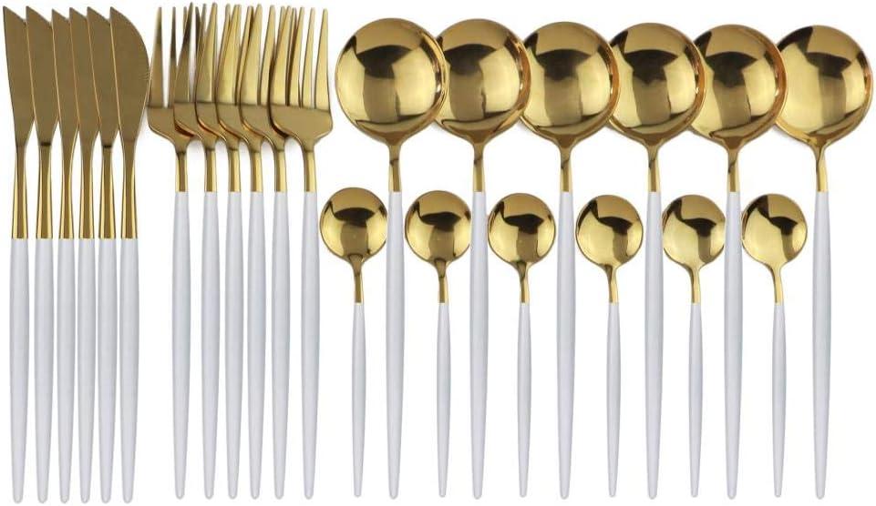 DHJFKSKH HS 304 Juego de Cubiertos de Acero Inoxidable Cubiertos Cuchara Vajilla 24 Piezas//Juego Juego de Cubiertos de Oro Negro Juego de Cubiertos de Espejo de Cocina Amarillo Claro