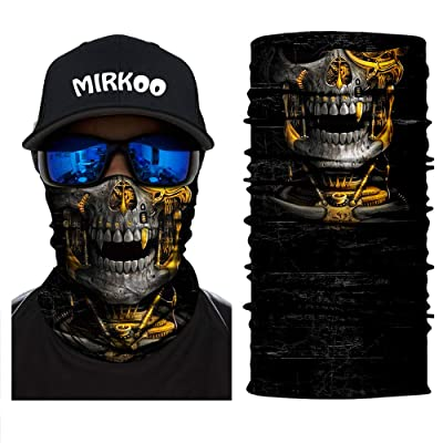 MIRKOO 3D Premium Breathable Seamless Tube Skull Half Face Mask, Windproof Dust-proof UV Protection Bicycle Bike Motorcycle Face Mask for Cycling Hiking Camping Climbing Fishing Motorcycling (SFM-758): Automotive