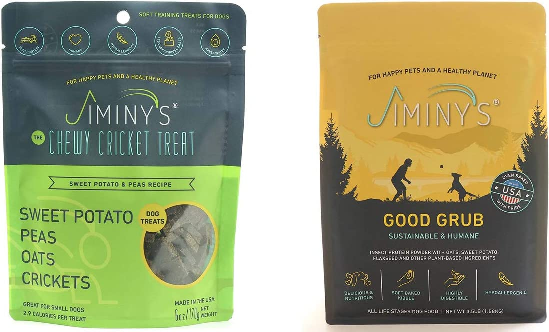 Jiminy's Training Treats & Dog Food Bundle   100% Made in The USA   Gluten-Free   Limited Ingredients   Sweet Potato & Pea Recipe   Insect Protein   Hypoallergenic   High Protein