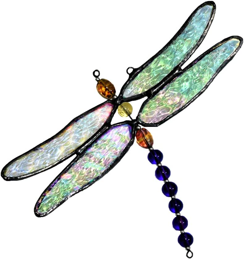 Dragonfly Ornament Stained Glass Sun Catcher Window Hanging Decor Display Gift For Gardener Orn 112 Kitchen Dining