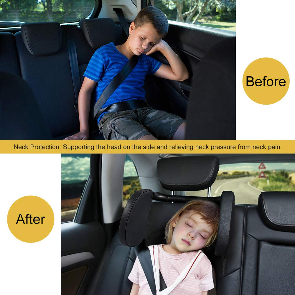 Xflyee Car Headrest Adjustable Safe Car Seat Pillow for Head and Neck Support Travel Sleeping Cushion for Kids Adults Black
