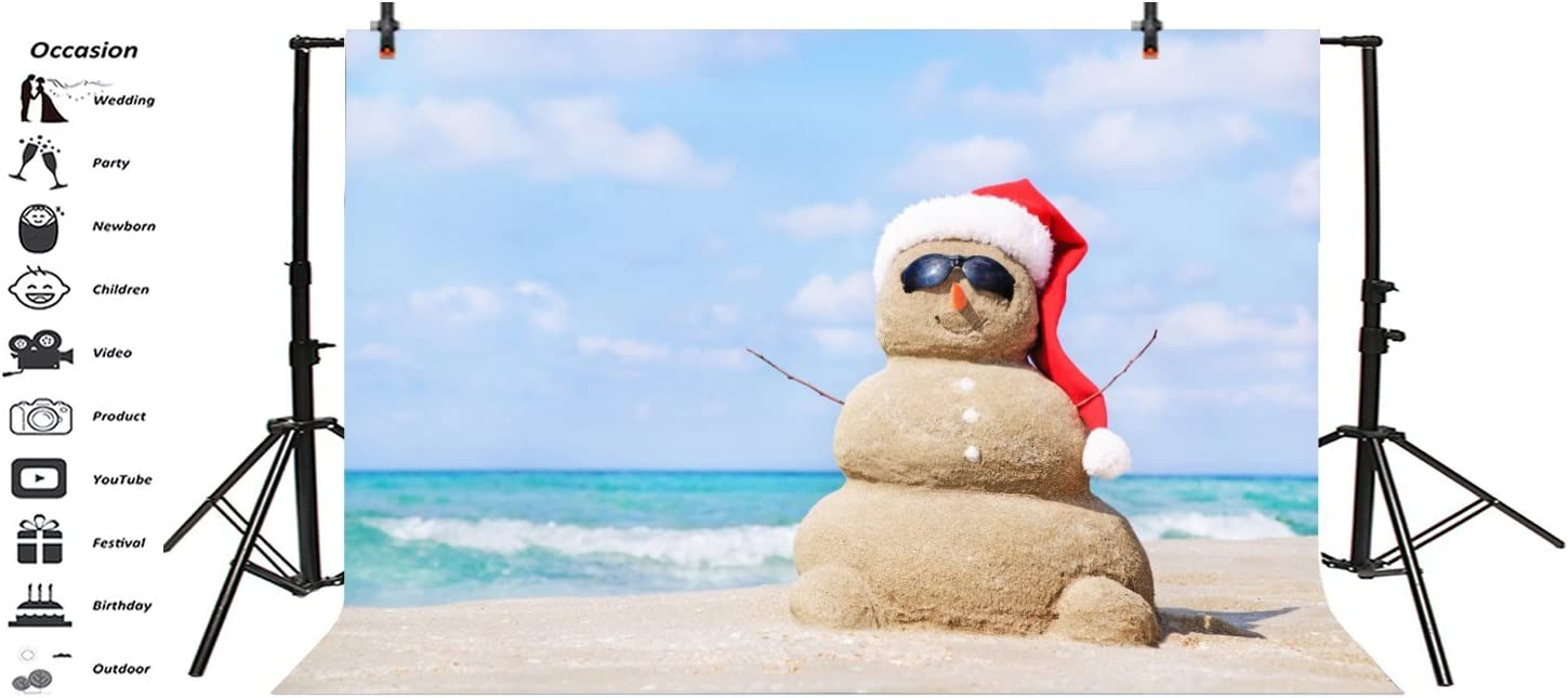 Beach Sandy Snowman in Red Santa Hat Backdrops 10x6.5ft Merry Christmas Photography Background Sea Beach Blue Sky Family Holiday Party Artistic Studio Props Photo Studio