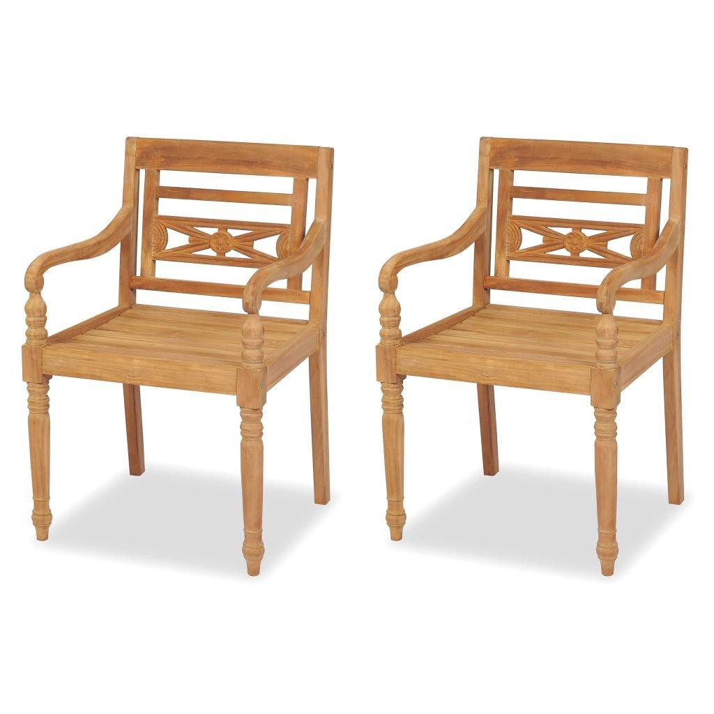 Festnight 2 pcs Chaise de jardin en Teck Chaise pour Table /à Manger 55 x 51,5 x 84 cm