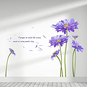 Supzone Purple Flowers Wall Sticker Daisy Peel and Stick Wall Decals Flower Flying Wall Decors Wall Art Stickers for Bedroom Living Room Sofa Backdrop TV Wall Decoration
