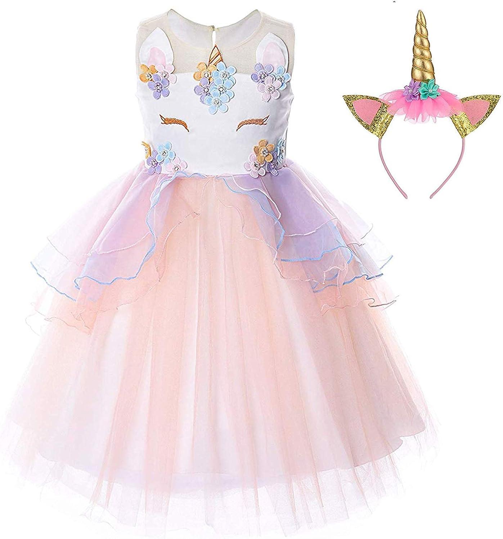 TTYAOVO Unicorn Dress for Girls Kids Teens Fancy Party Costume 2-14 Years