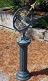 Rome Sunburst Armillary Sundial and Roman Pedestal