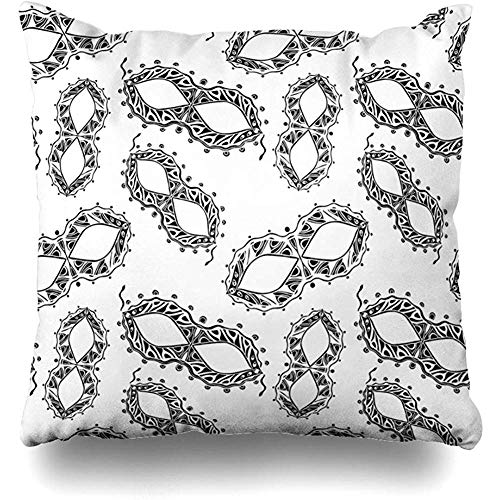 Throw Pillow Covers Ornate Mardi Carnival Masks Black White Gras Raster Bright Celebration Costume Design Decorative Cushion Cover Square 18 x 18 Inches Home Decor Pillow - Mardi Gras Mask 18 Inch