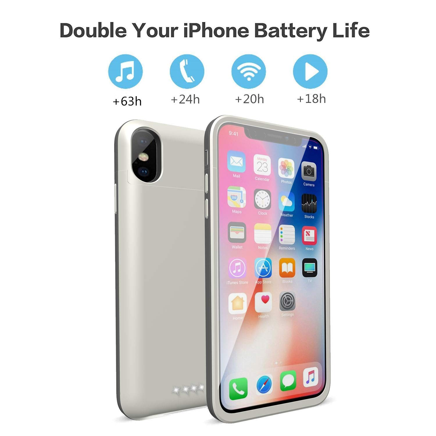 size 40 75819 1091a iPhone X Battery Case,Epuirie 5200mAh Portable Slim External Battery  Charging Case Support Headphones Battery Pack for Apple iPhone X,iPhone  10(5.8 ...