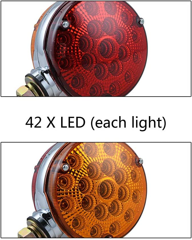 2pc 4 Round Double Face Single Stud Mount Red//Amber 48 LED Fender Reflective Stop Turn Signal Lights w//Chrome ABS Housing Sealed Compatible with Kenworth Peterbilt Freightliner Western Star Volvo